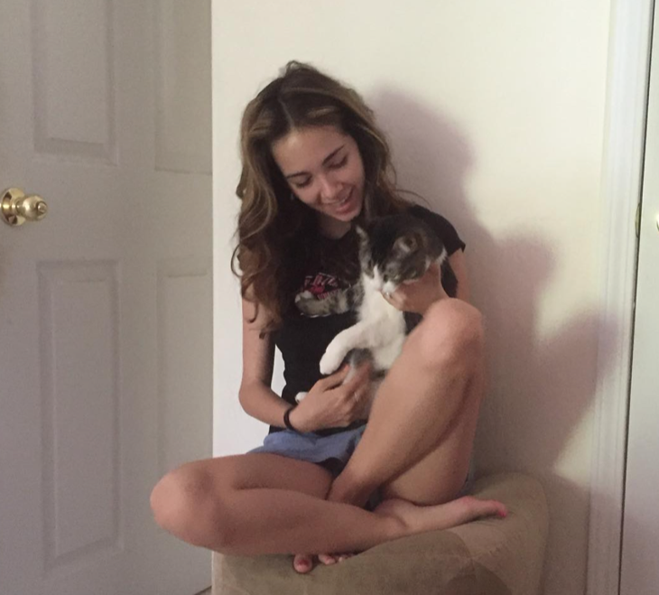 Haley Pullos Shares Adorable Snapshot Giving Her Cat Chloe 'Good Morning Kisses